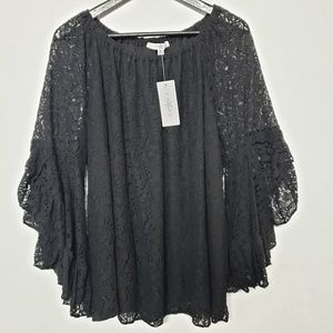 Fever Black Lace Bell Sleeve Blouse *NEW* size 1X